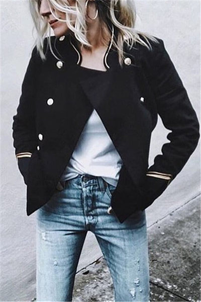 Band Collar  Double Breasted  Plain Blazers
