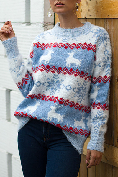 Christmas Printed Round Neck Sweater
