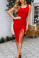 Spaghetti Strap  Side Slit  Plain  Sleeveless Bodycon Dresses