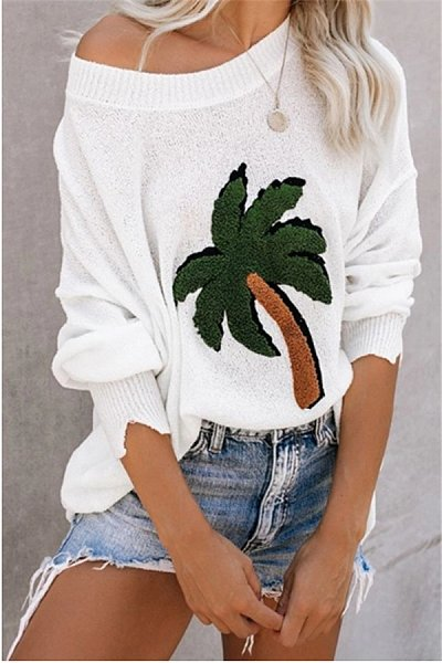 Loose Large Size Coconut Print Sweater