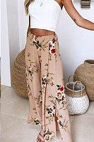 Slit  Floral Printed Pants