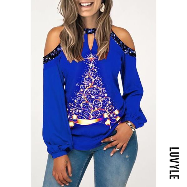 A Collar Long Sleeve Printed T-shirt - from $21.00