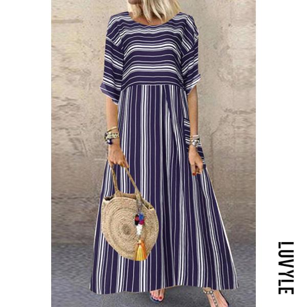 Casual Loose Pocket Short Sleeve Striped Maxi Dress