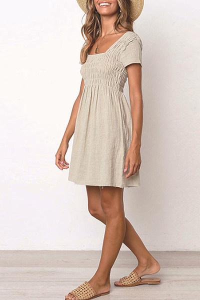 Square Neck  Plain  Short Sleeve Skater Dresses