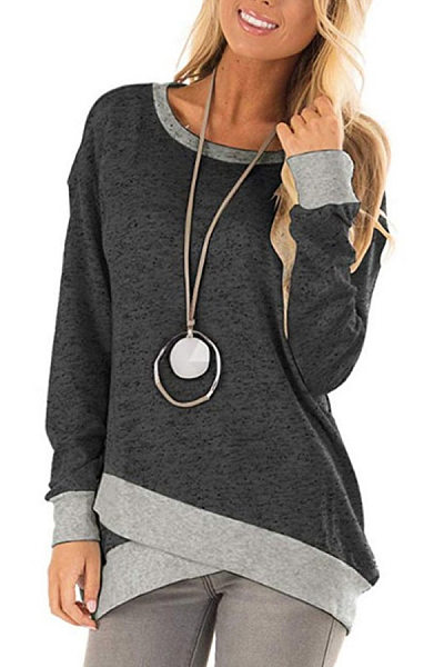 Round Neck Irregular Hem Casual T-Shirt