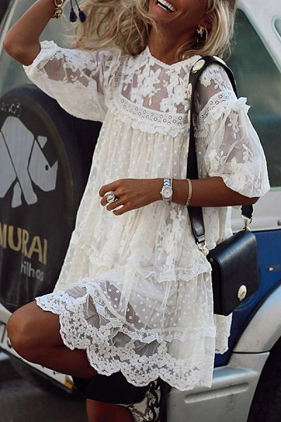 Cute Lace-Up Half Sleeve Lace Casual Dress