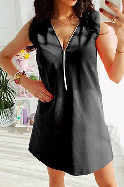 V Neck  Zipper  Plain  Sleeveless Casual Dresses