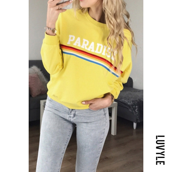 Fashion Casual Round Neck Print Sweatshirt