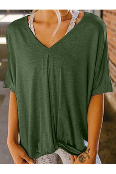 V Neck Short Sleeve Plain Loose Casual T-Shirts