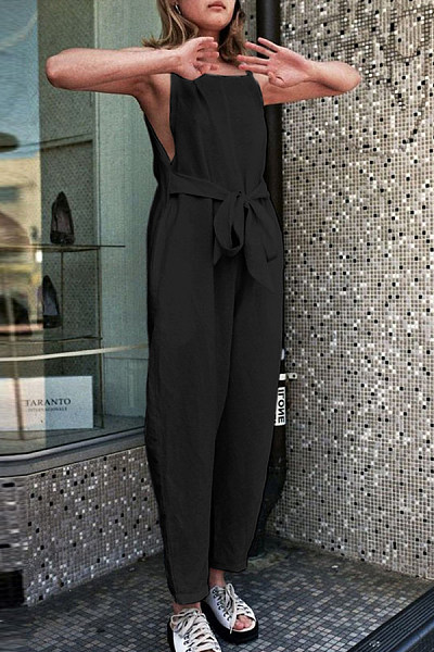 Round Neck  Slit  Plain  Sleeveless Jumpsuits