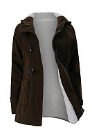Hooded  Single Breasted  Plain Outerwear