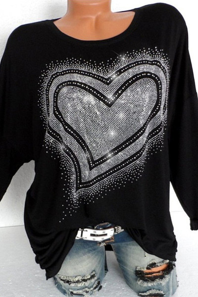 Round  Neck  Casual Sequin  Long Sleeve T-Shirt