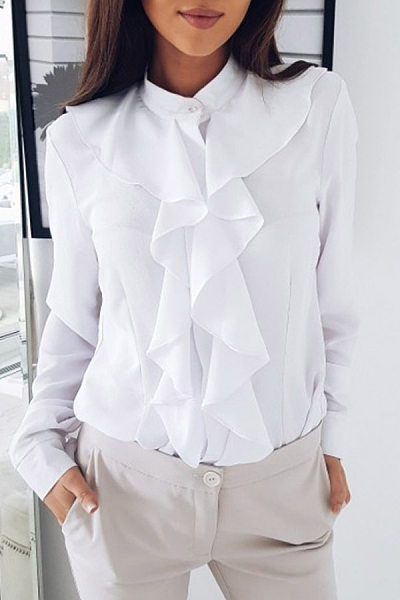 Ruffle Long Sleeve Solid Blouse