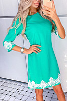 Round Neck  Decorative Lace  Plain  Half Sleeve Bodycon Dresses