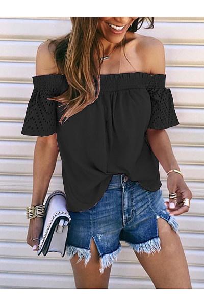 Casual Shoulder Lace Short Sleeve T-Shirt