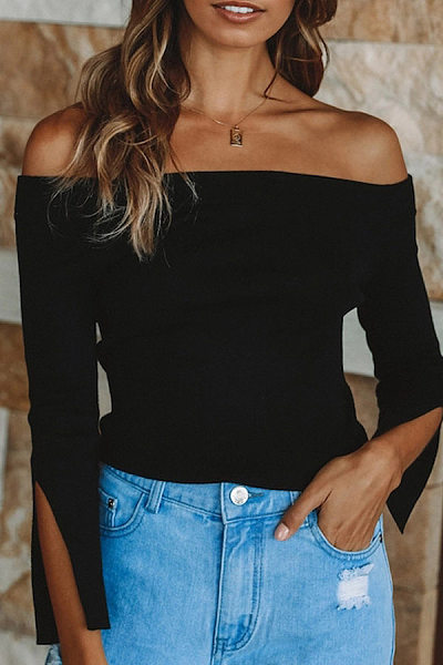 Fashion Solid Color Collar   T-Shirt Top