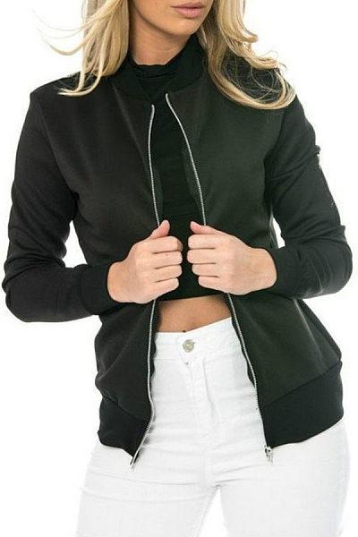 Band Collar  Zipper  Color Block Jackets