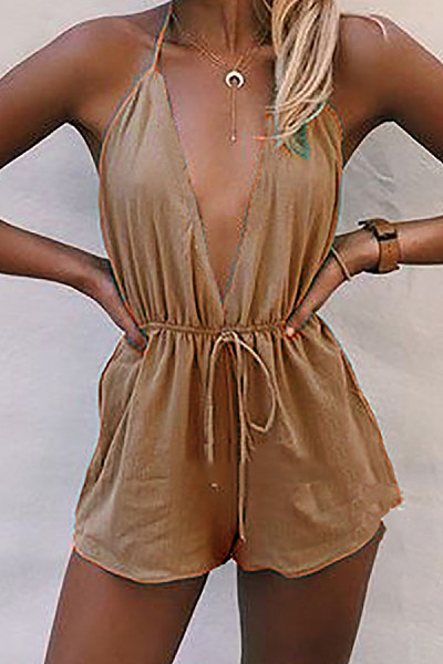 Deep V Neck  Loose Fitting  Plain  Sleeveless  Playsuits