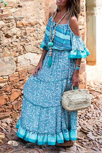 Bohemian Off Shoulder Ruffled Holiday Print Dress