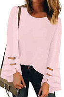 Round  Neck  Patchwork  Elegant  Plain  Long Sleeve  Blouse