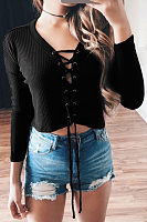 V Neck  Lace Up  Exposed Navel  Plain T-Shirts