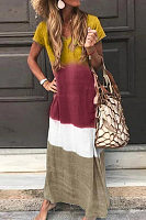 Casual V Neck Printed Colour Loose Maxi Dress