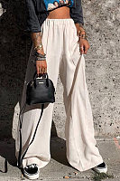Stylish pure color loose wide leg pants