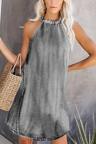 Casual Sleeveless Pure Color Dress