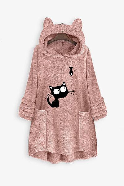 Casual Hat Collar Long Sleeve Cat Sweatershirts