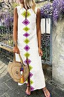 V Neck Prinetd Maxi Dress