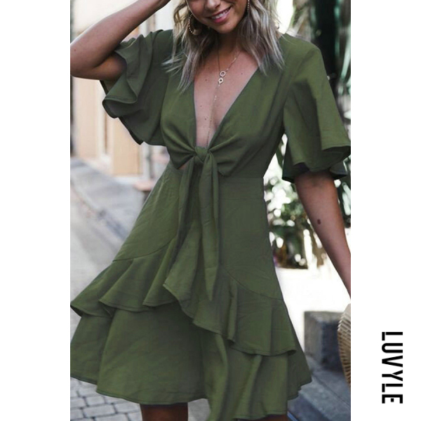 Army Green Sexy Plain Short Sleeves Stitching Mini Dress Army Green Sexy Plain Short Sleeves Stitching Mini Dress
