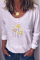 Floral V Neck Long Sleeve T-shirt