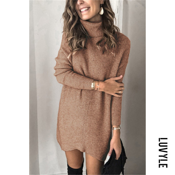 Casual High Neck Plain Long Sweater - from $34.00