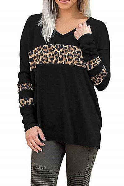 V Neck  Leopard T-Shirts