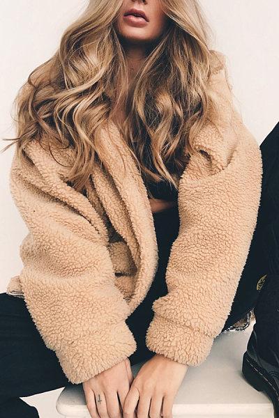 Small Lapel  Plain  Basic Outerwear