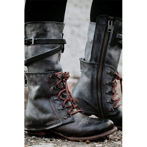 Plain  Round Toe  Date Outdoor  Mid Calf Flat Boots