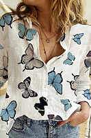 Butterfly Printed A Lapel Blouse