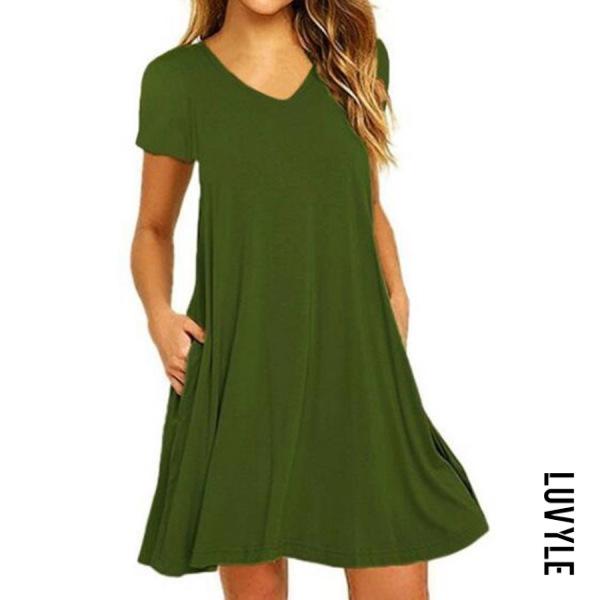 Army Green V Neck Plain Shift Dress Army Green V Neck Plain Shift Dress