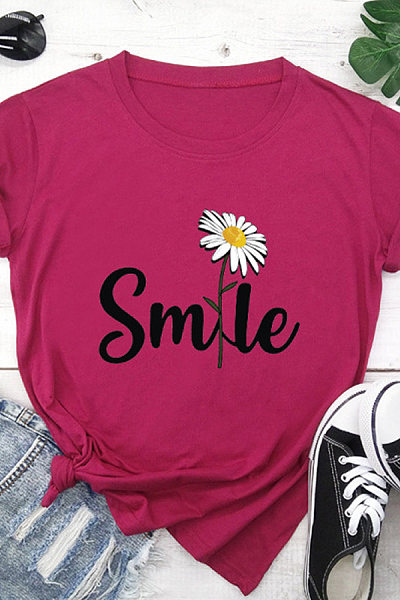 Printed crew neck cotton casual T-shirt