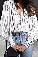 V Neck Loose-Fitting Bishop Sleeve Striped Casual Blouses