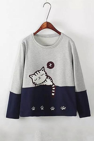 Round Neck Colouring Cat Sweatshirt
