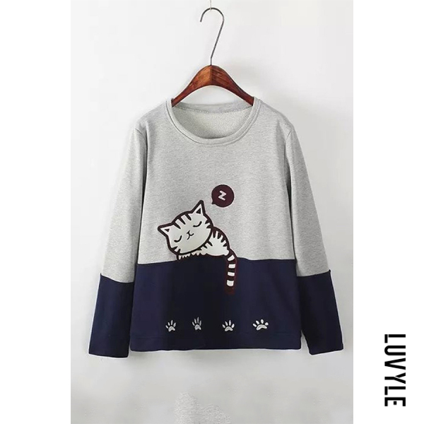 Round Neck Colouring Cat Sweatshirt - from $16.00