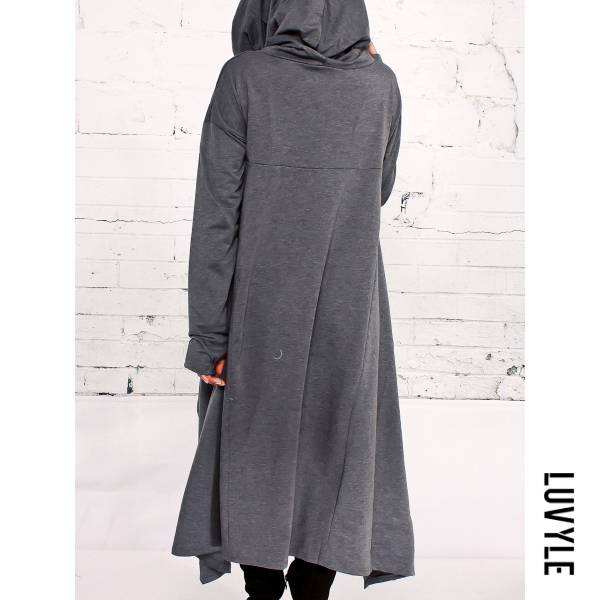 Dark Grey Hooded Asymmetric Hem Plain Hoodies Dark Grey Hooded Asymmetric Hem Plain Hoodies