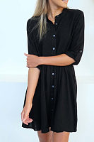 Turn Down Collar  Single Breasted  Plain  Half Sleeve Casual Dresses