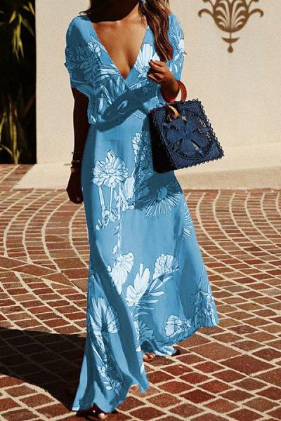 Deep V Neck  Floral Printed  Short Sleeve Maxi Dresses