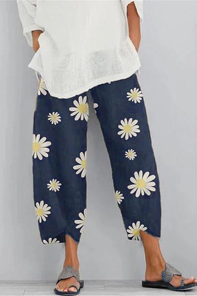 Daisy printed harem belt pocket pants