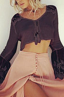 Round Neck  Lace Patchwork Plain  Bell Sleeve  Blouses