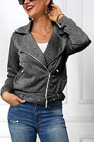 Fold-Over Collar Zips Plain Jacket