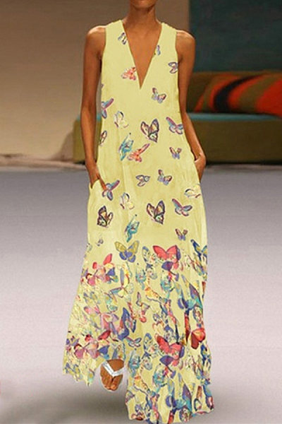 V Neck Sleeveless Butterfly Maxi Dress