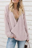 Deep V Neck  Loose Fitting  Plain Sweaters